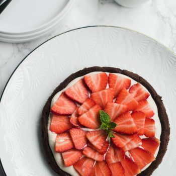 Flourless Chocolate Cake with Strawberry Coconut Cream