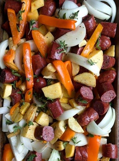 Colorful Parsnips Rutabaga Sausage Sheet Pan Dinner