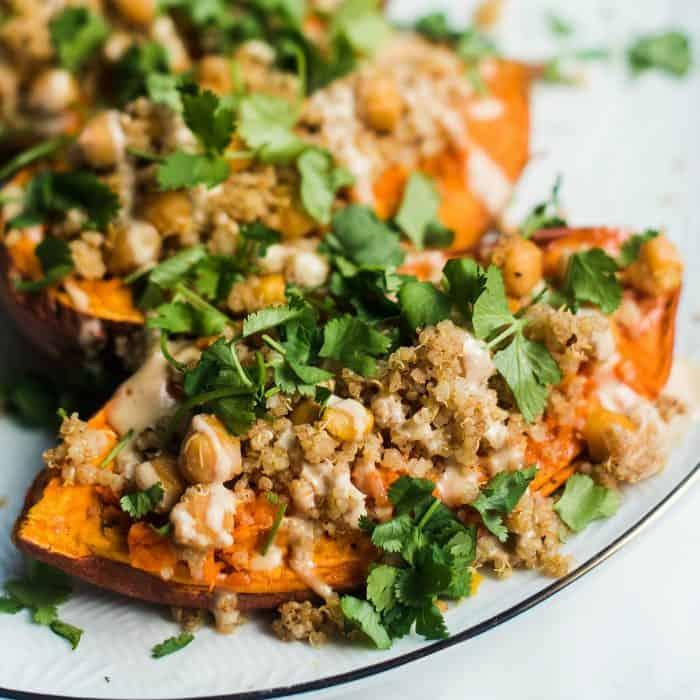 BEST Tahini Stuffed Sweet Potatoes