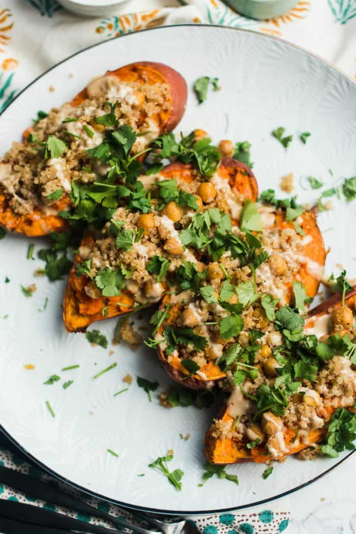 Easy Tahini Stuffed Sweet Potatoes