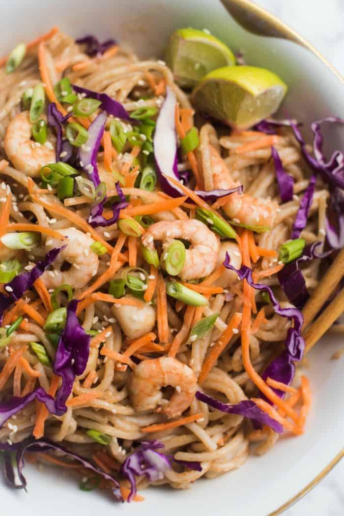 Shrimp Pad Thai Noodle Seafood Dish