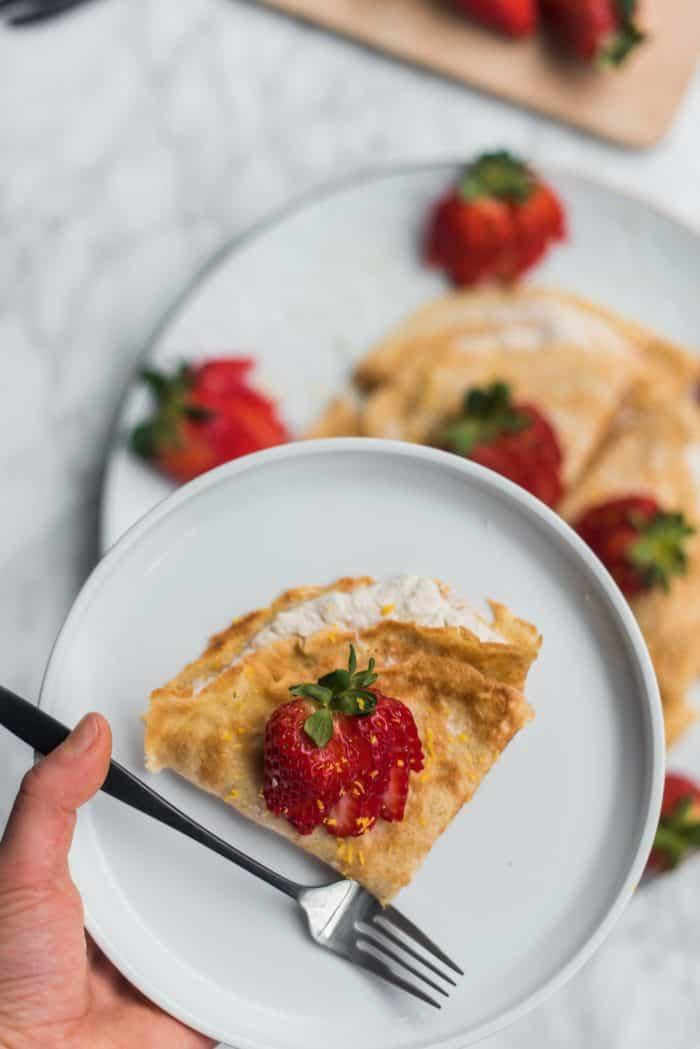Easy Gluten-Free Coconut Strawberry Crepes Recipe