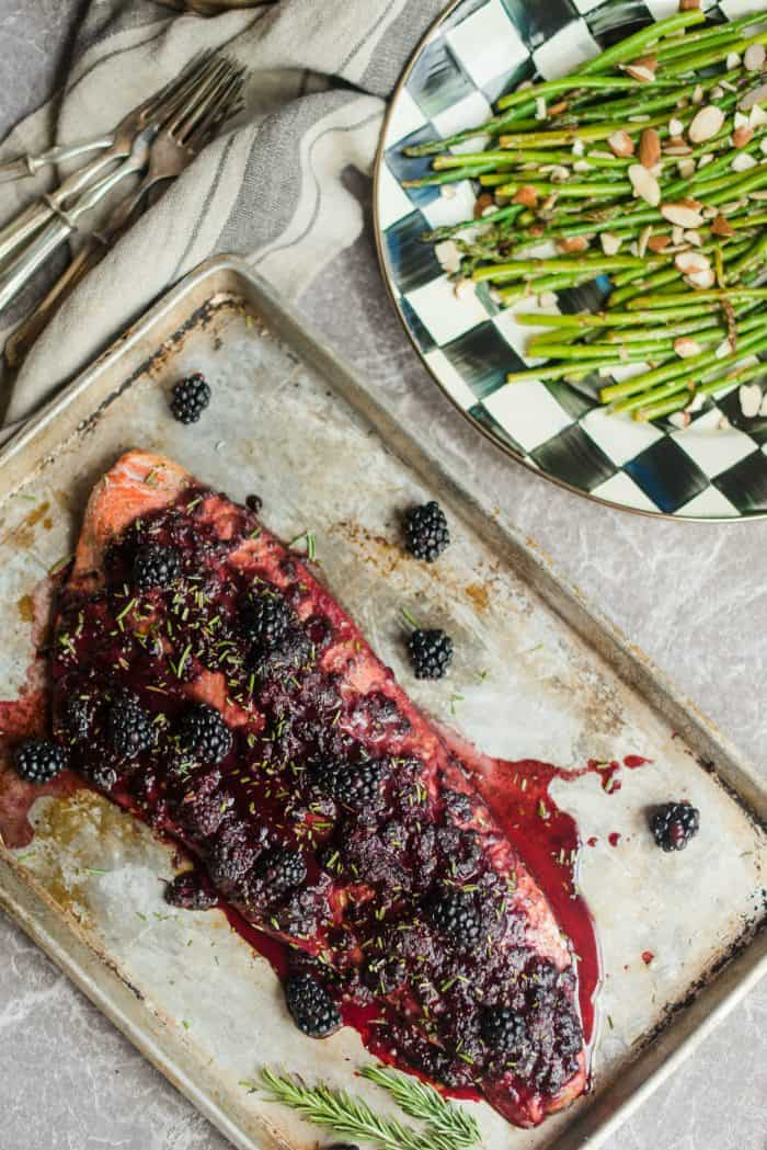 Oven Baked Salmon with Blackberry Barbecue Sauce
