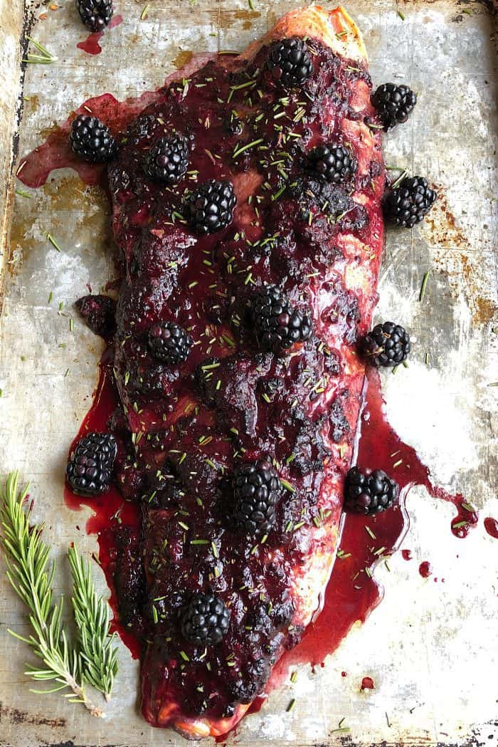BEST Oven Baked Salmon with Blackberry Barbecue Sauce