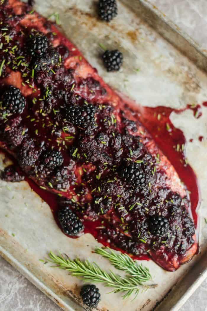 Scrumptious Oven Baked Salmon with Blackberry Barbecue Sauce