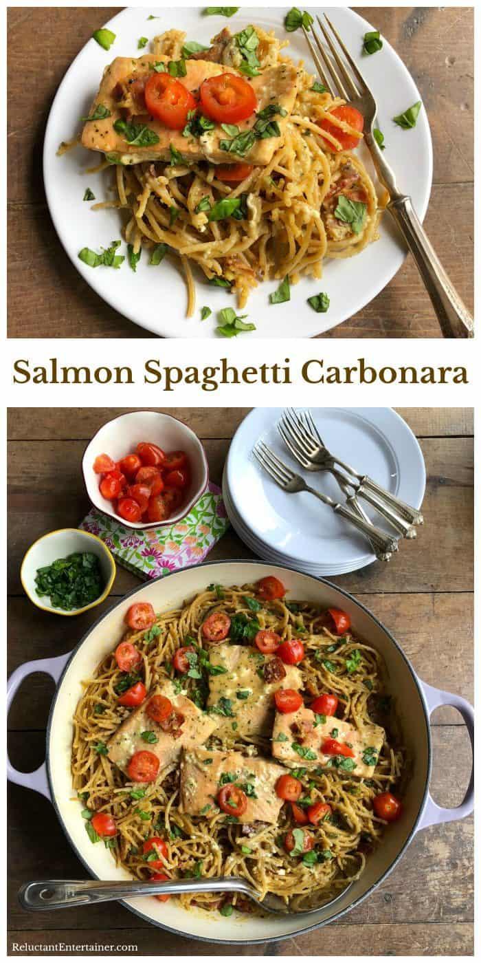 Salmon Spaghetti Carbonara from ReluctantEntertainer.com #trustGortons