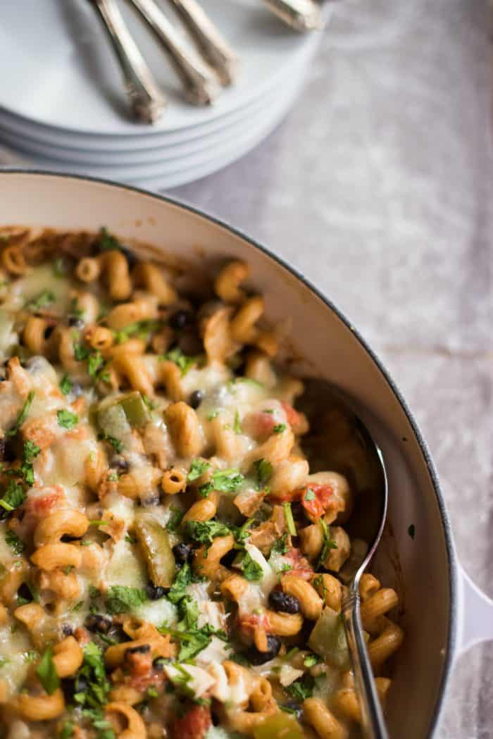 Easy Cheesy Chicken Enchilada Pasta