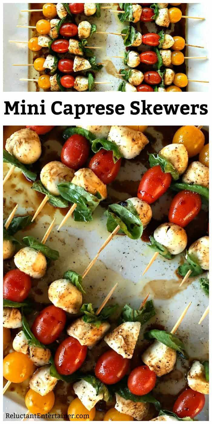 Mini Caprese Skewers Appetizer Reluctant Entertainer