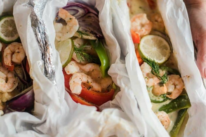 Delicious Shrimp Scampi Foil Pack Dinner