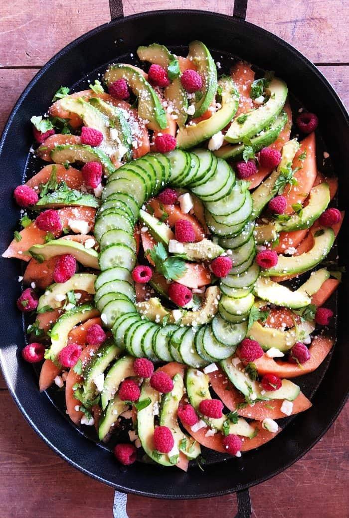 Cantaloupe Avocado Raspberry Salad