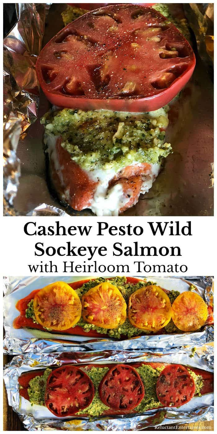 Grilled Cashew Pesto Wild Sockeye Salmon with Heirloom Tomato