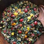 Southwest Kale Quinoa Salad in a brown bowl
