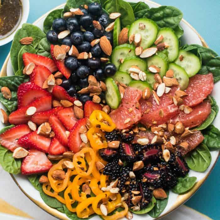 Easy Summer Berry Almond Spinach Salad