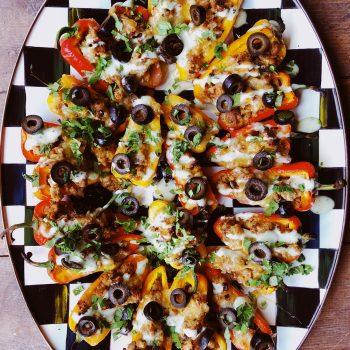 black and white plate of taco stuffed mini peppers