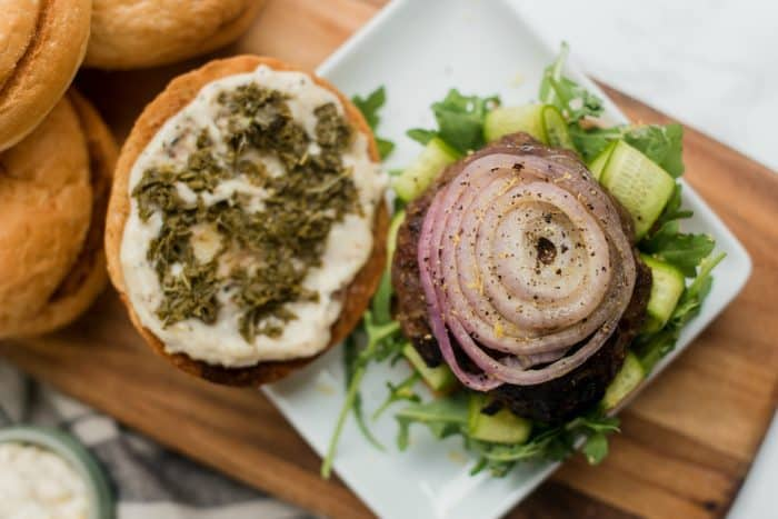 Mint Lamb Burgers with Fig and Onions