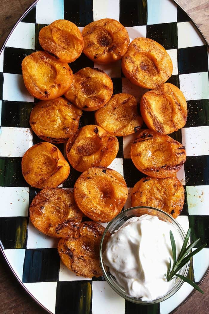 Easy Grilled Apricots with Sweet Cream