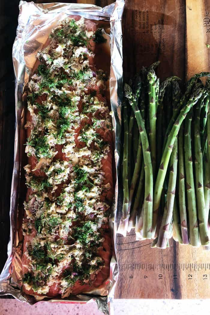 Lime-Dill Shallot Grilled Salmon Recipe - in foil tray