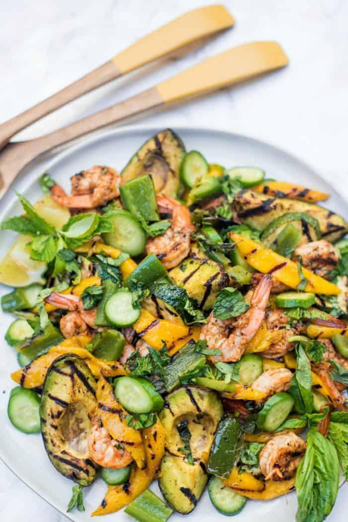 FRESH Grilled Avocado Mango Shrimp Salad