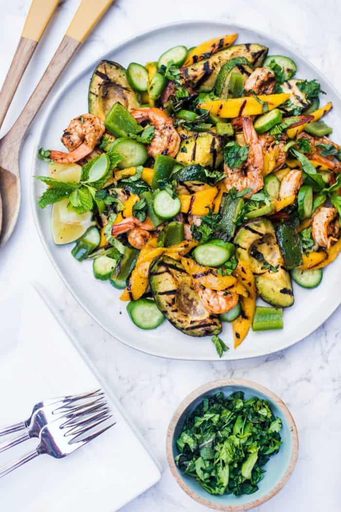 Easy Grilled Avocado Mango Shrimp Salad