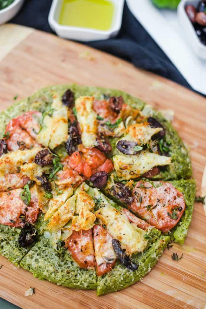 Parsley Infused Pesto Socca Pizza