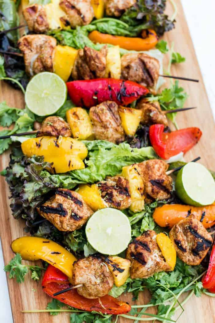 Summer Pineapple Mango Grilled Chicken Skewers