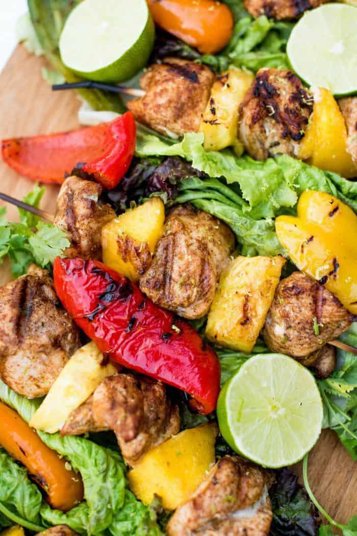 Pineapple Mango Grilled Chicken Skewers Recipe