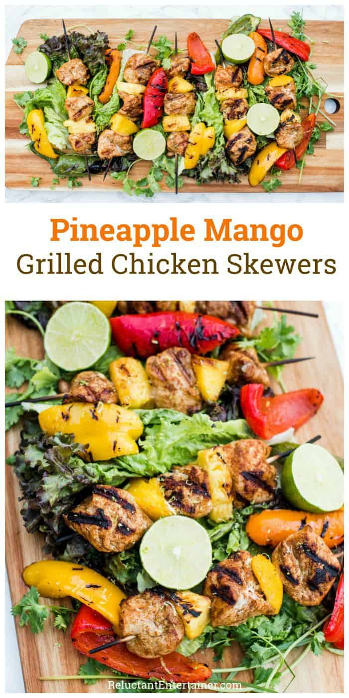 Pineapple Mango Grilled Chicken Skewers