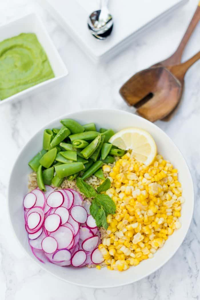 Quinoa Radish Corn Salad Recipe with Green Goddess Dressing