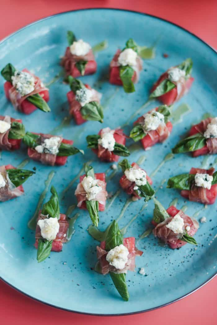 easy Watermelon Blue Cheese Prosciutto Bites