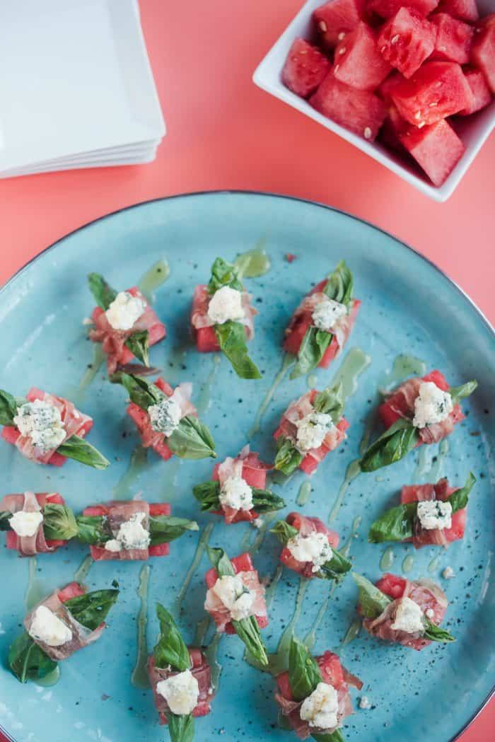 Watermelon Blue Cheese Prosciutto Bites