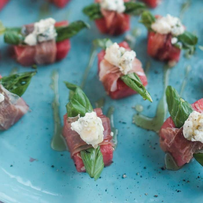 Watermelon Blue Cheese Prosciutto Bite
