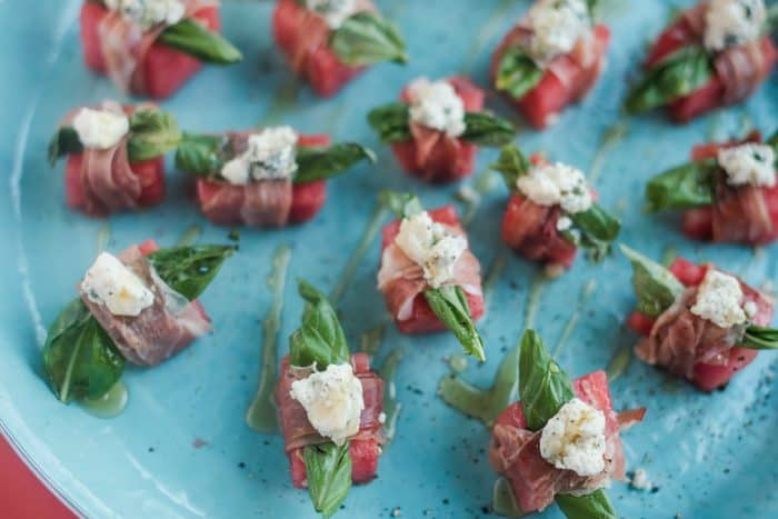 Watermelon Blue Cheese Prosciutto Bites recipe
