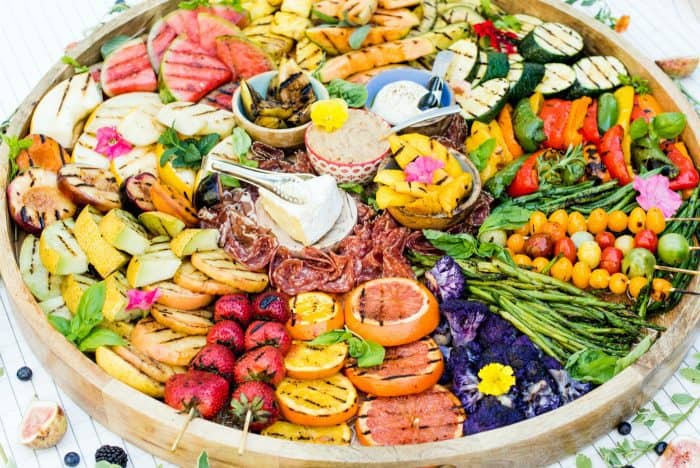 STUNNING Grilled Fruit Vegetable Charcuterie Board