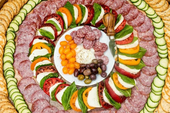 Salami Caprese Charcuterie Board Reluctant Entertainer