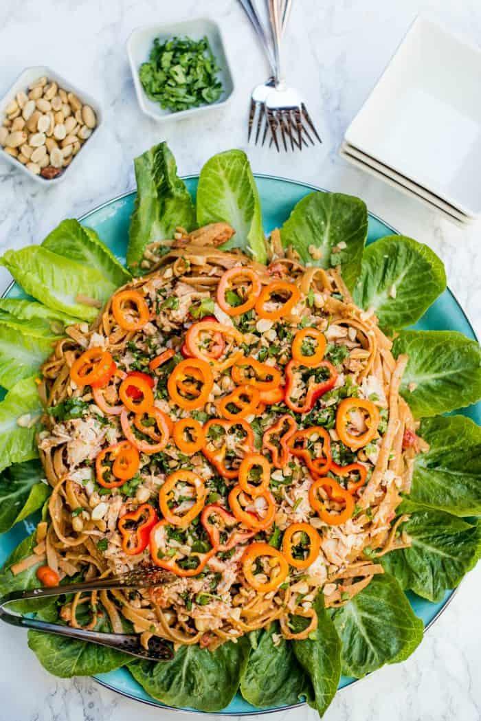 BEST Thai Chicken Fettuccine Salad