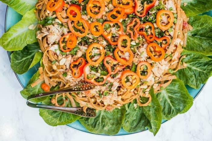 BEST Thai Chicken Fettuccine Salad Recipe