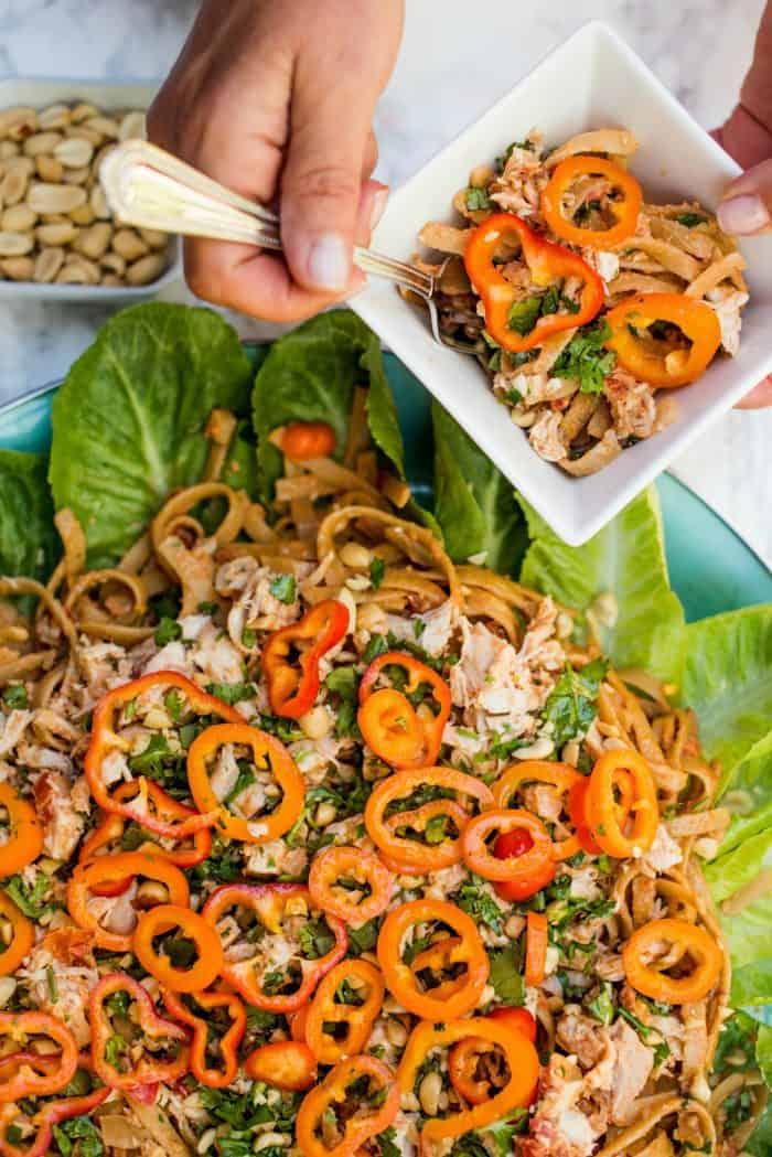 Thai Chicken Fettuccine Salad - dish & spoon