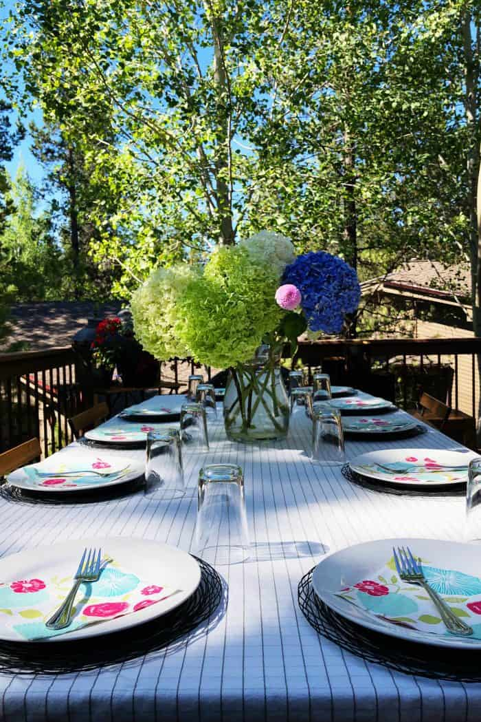 Set the table with hydrangeas