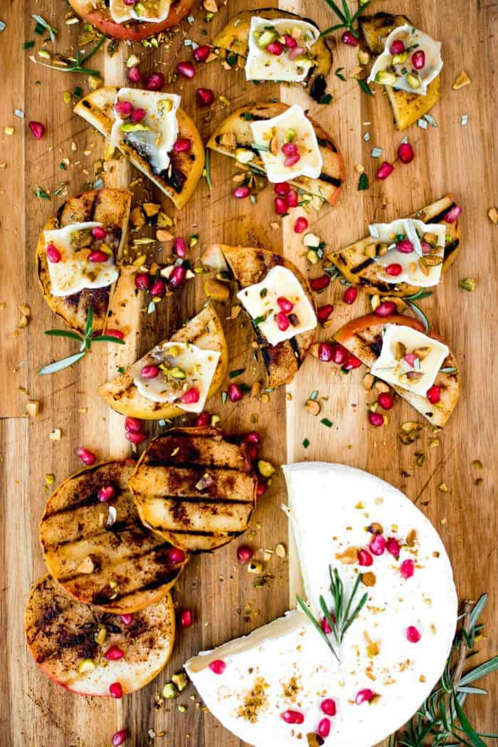 Easy Grilled Apple Pistachio Pomegranate Brie Bites