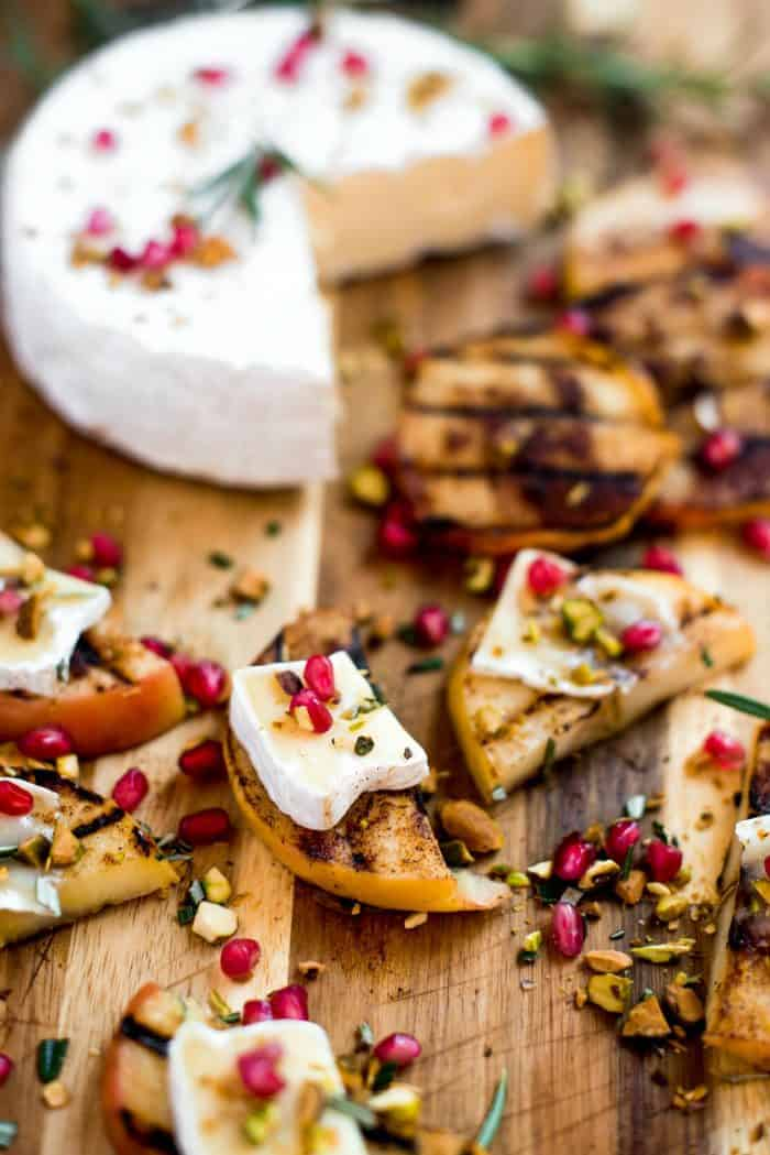 HOLIDAY Grilled Apple Pistachio Pomegranate Brie Bites