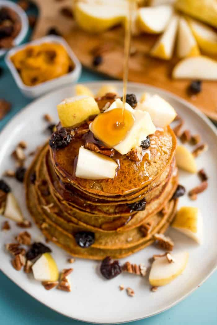 Easy Pumpkin Chocolate Chip Pear Pancakes