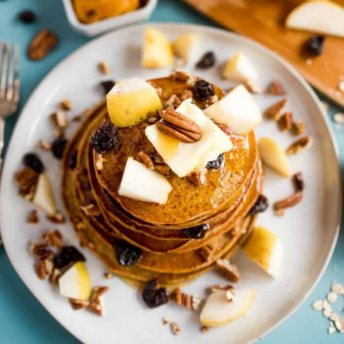 SO GOOD Pumpkin Chocolate Chip Pear Pancakes