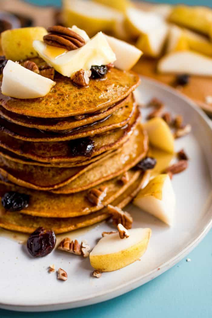 Delicious Pumpkin Chocolate Chip Pear Pancakes