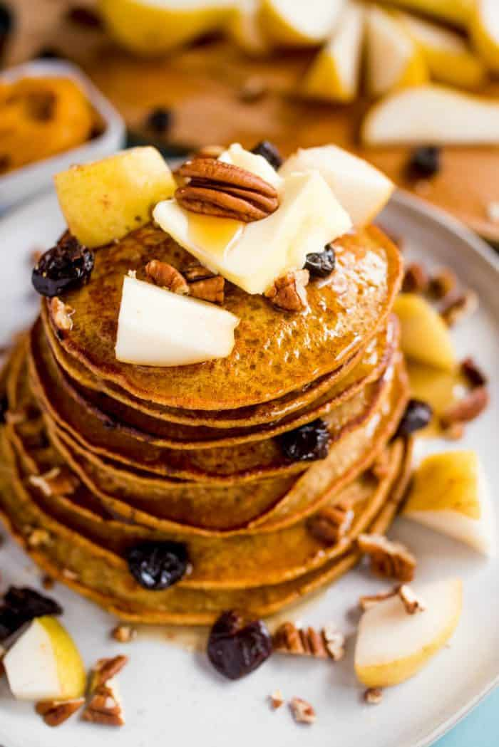 Tasty Pumpkin Chocolate Chip Pear Pancakes