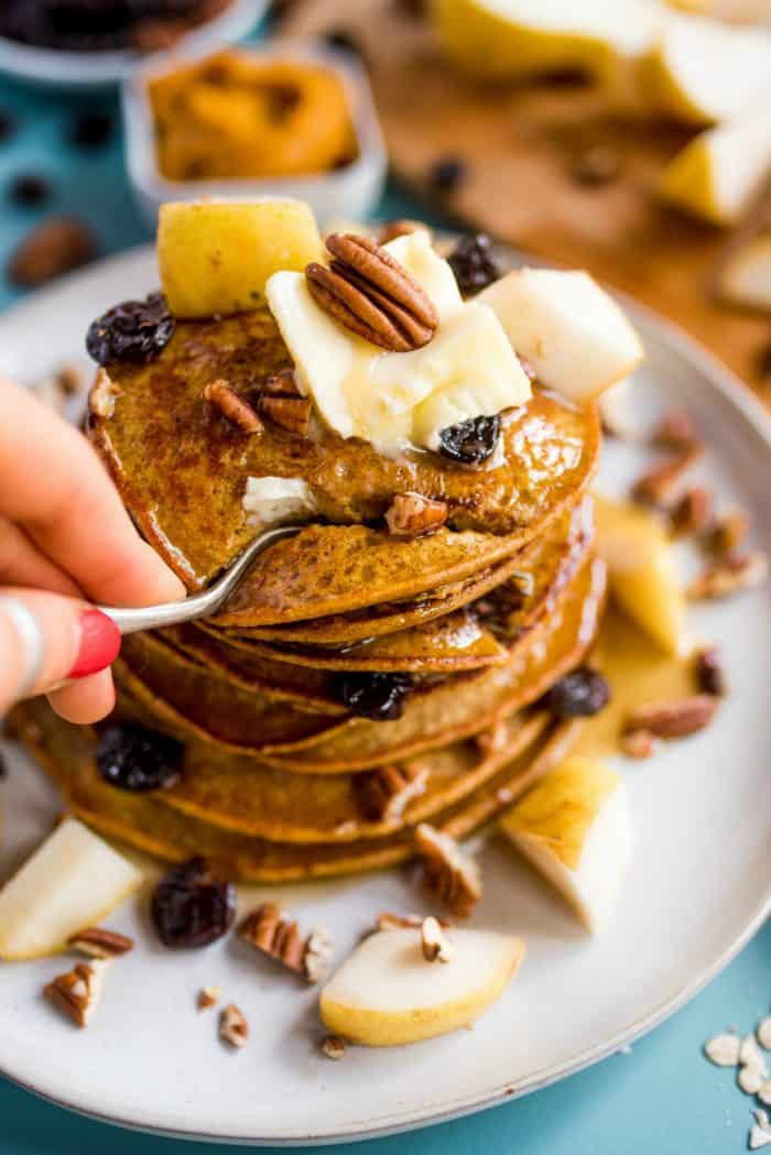 BEST Pumpkin Chocolate Chip Pear Pancakes