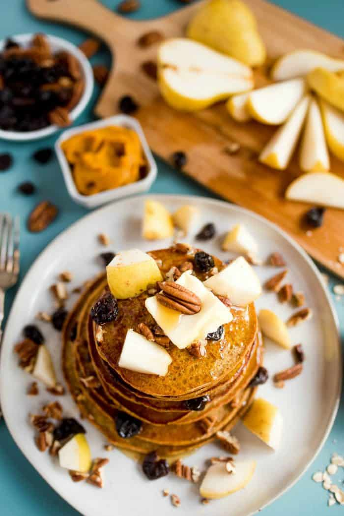 Pumpkin Chocolate Chip Pear Pancakes