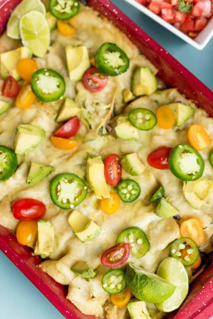 Zucchini Cheese Enchiladas Verde