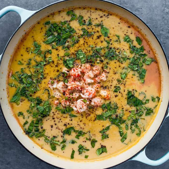 Easy Butternut Squash Coconut Lobster Soup