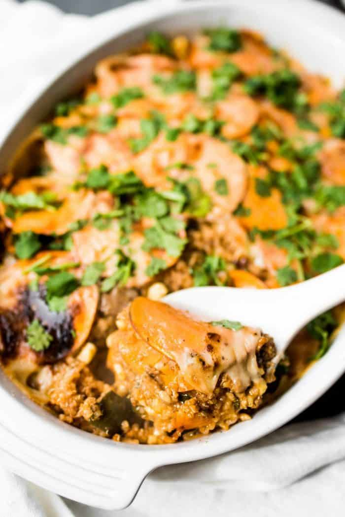 Delicious Mexican Sweet Potato Quinoa Casserole