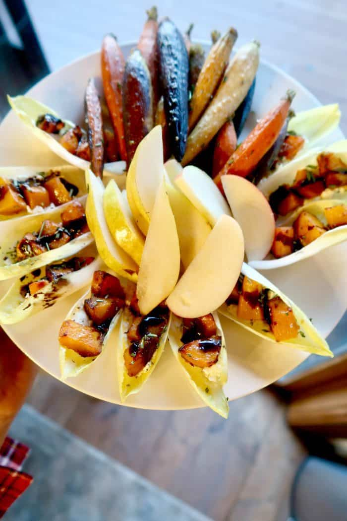 Roasted Butternut Squash Endive Appetizer with pears and carrots